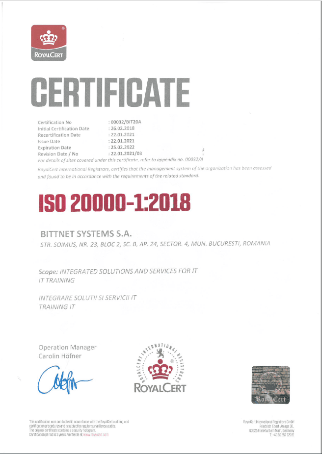 Certificare ISO Bittnet Training